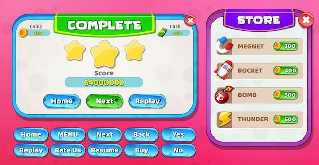Casual cartoon kids game ui level vervollständige und speichere das menü pop-up mit sternen und knöpfen Premium Vektoren