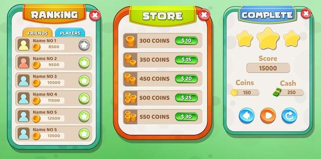 Casual cartoon kids game ui rangliste, store und level komplettes menü pop-up mit sternenknöpfen Premium Vektoren