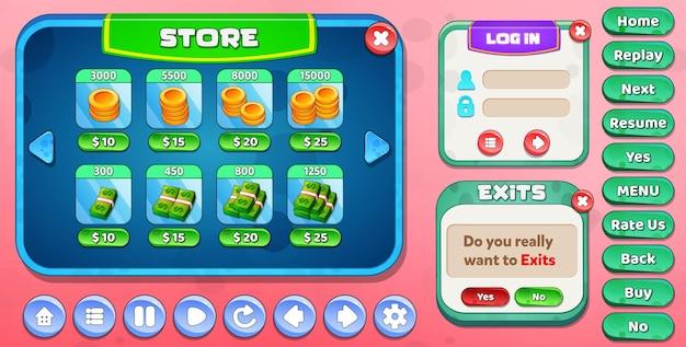 Casual cartoon kids game ui store, anmelden und verlassen des menüs popup mit sternenknöpfen Premium Vektoren