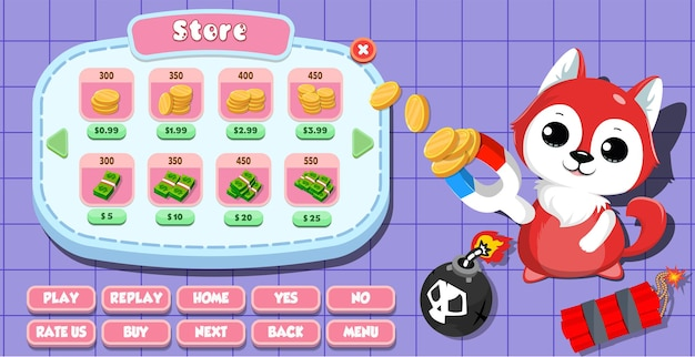 Casual cartoon kids game ui store-menü pop-up mit münzen, gold, sternen, knöpfen und katze Premium Vektoren