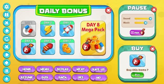 Casual cartoon kids game ui täglicher bonus, pause und kaufmenü popup mit sternenknöpfen Premium Vektoren