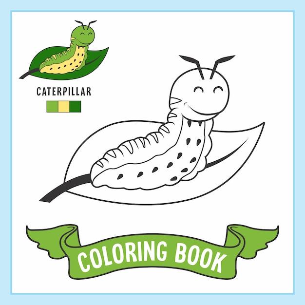 caterpillar animals malvorlagen buch  premiumvektor