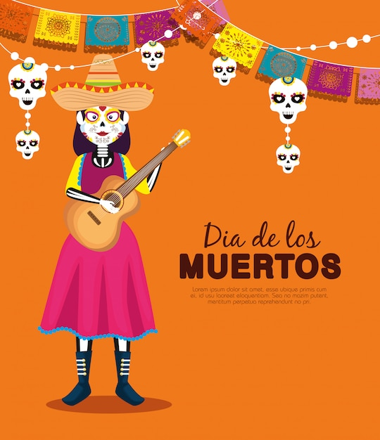 Catrina mit hut und gitarre mit party banner Kostenlosen Vektoren