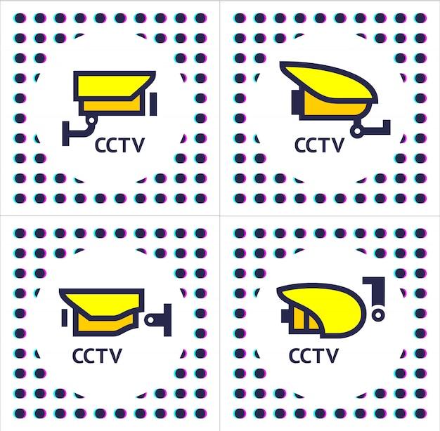 Cctv kamera set aufkleber Premium Vektoren