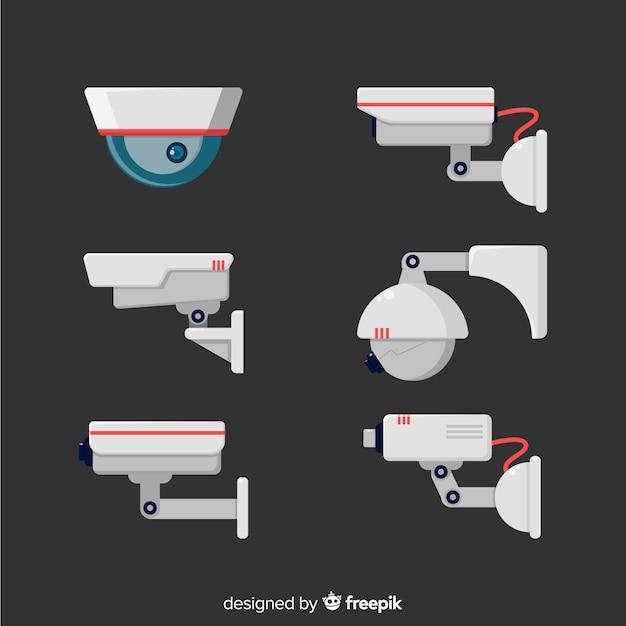 Cctv-kamerasammlung mit flachem design Kostenlosen Vektoren
