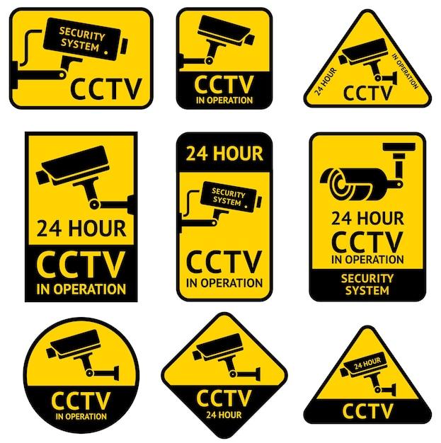 Cctv videoüberwachung überwachungskamera aufkleber Premium Vektoren