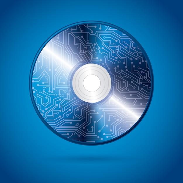 Cd-design über blauem hintergrund Premium Vektoren