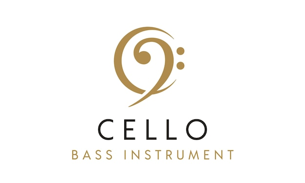 Cello / bass-instrument mit c-logo-design Premium Vektoren