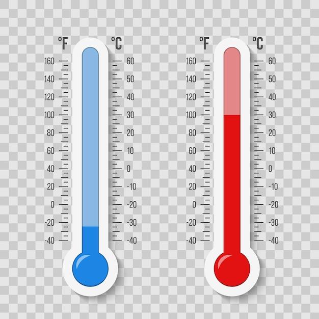 Celsius, fahrenheitsthermometer, temperaturskala Premium Vektoren