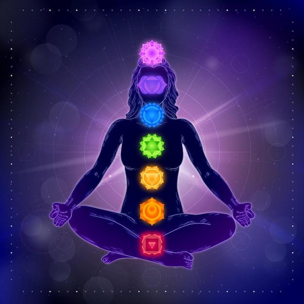 Chakra und lotus position bokeh-effekt Kostenlosen Vektoren