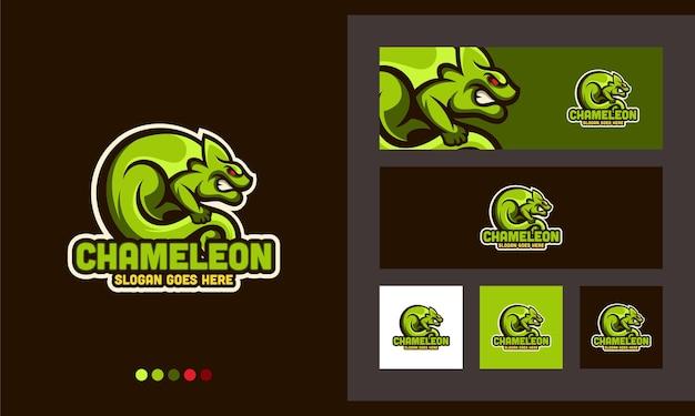 Chamäleon leguan gecko kreatives design logo vorlage Premium Vektoren