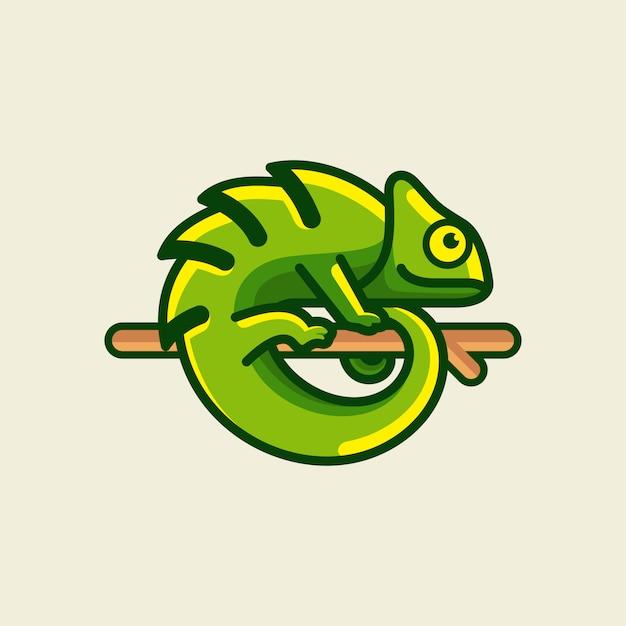 Chamäleon logo design illustration Premium Vektoren