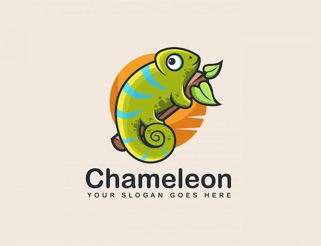 Chamäleon-maskottchen-logo Premium Vektoren