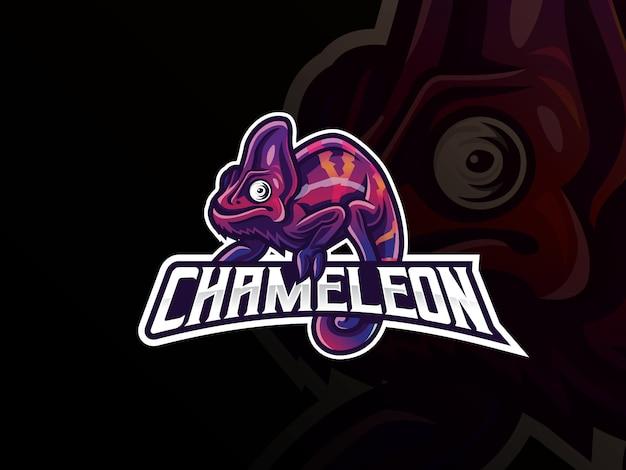 Chamäleon maskottchen sport logo design Premium Vektoren