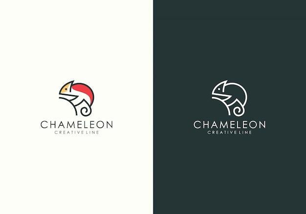 Chamäleon moderne linie kunstlogo Premium Vektoren