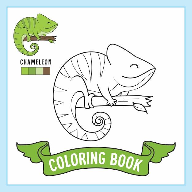 Chamaleon Tier Malvorlagen Buch Premium Vektor