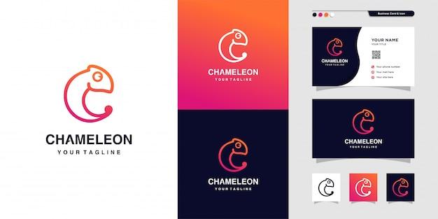 Chamäleon-umrisslogo und visitenkartenentwurf, visitenkarte, farbverlauf, symbol, modern, tier, premium Premium Vektoren