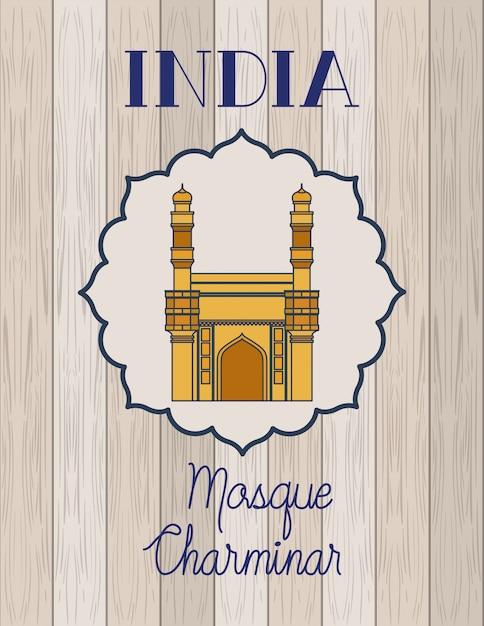 Chaminar tempel der indischen moschee mit hölzernem Kostenlosen Vektoren