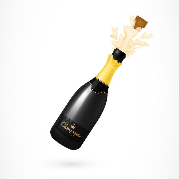 Champagner-flasche-explosions-illustration Kostenlosen Vektoren