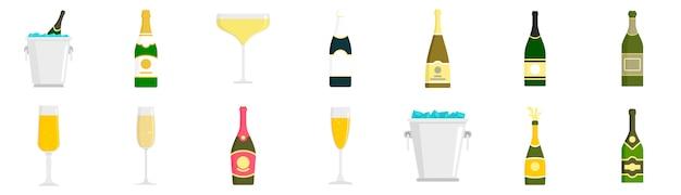 Champagner-icon-set Premium Vektoren