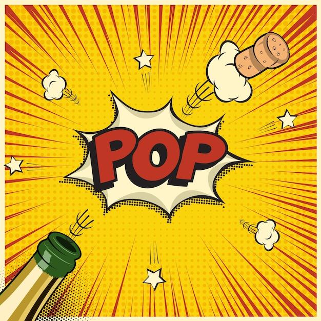 Champagnerflasche mit fliegendem korken und popwort, feiertagselement im comic- oder manga-stil. Premium Vektoren