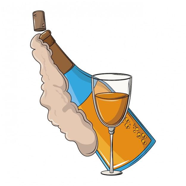 Champagnerflasche und tasse Premium Vektoren