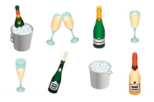 Champagnerset im isometrischen stil Premium Vektoren