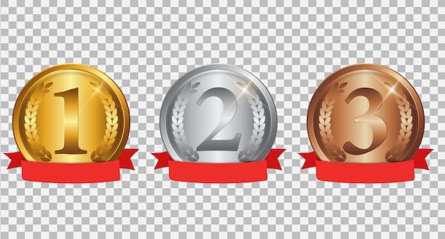 Champion gold-, silber- und bronzemedaille mit roter schleife Premium Vektoren