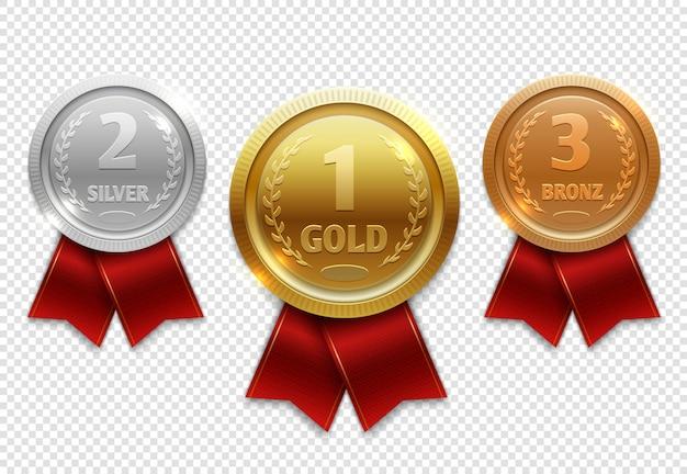 Champion-gold-, silber- und bronzemedaillen mit roten bändern Premium Vektoren