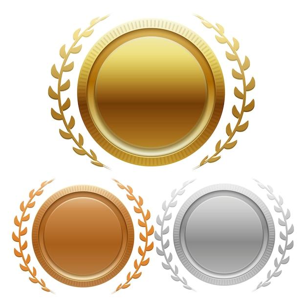 Champion gold-, silber- und bronzemedaillen Premium Vektoren
