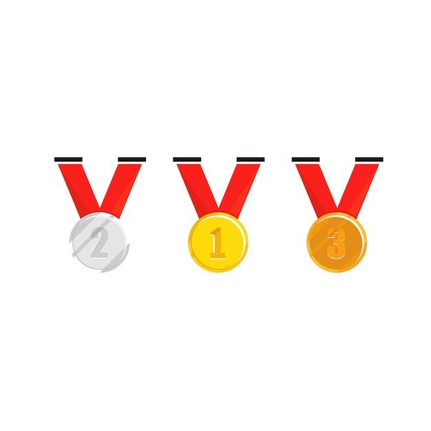 Champion-medaille mit rotem band Premium Vektoren