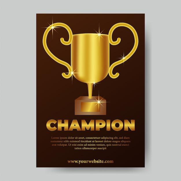 Champion-trophäenplakat Premium Vektoren