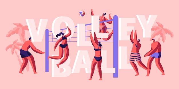 Character team spielen sie volleyball am strand banner. lustiger und sonniger tag zum spielen mit freund. ball fangen und werfen. populärer sport für zwei spieler. flache karikatur-vektor-illustration Premium Vektoren