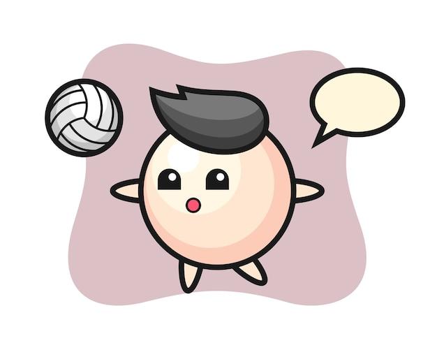 Charakter cartoon der perle spielt volleyball Premium Vektoren