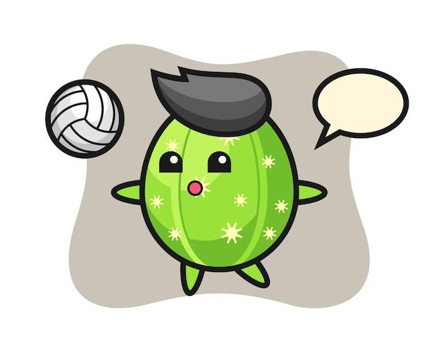 Charakter cartoon von kaktus spielt volleyball Premium Vektoren