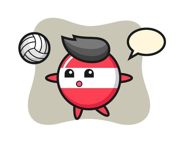 Charakter cartoon von österreich flaggenabzeichen spielt volleyball Premium Vektoren