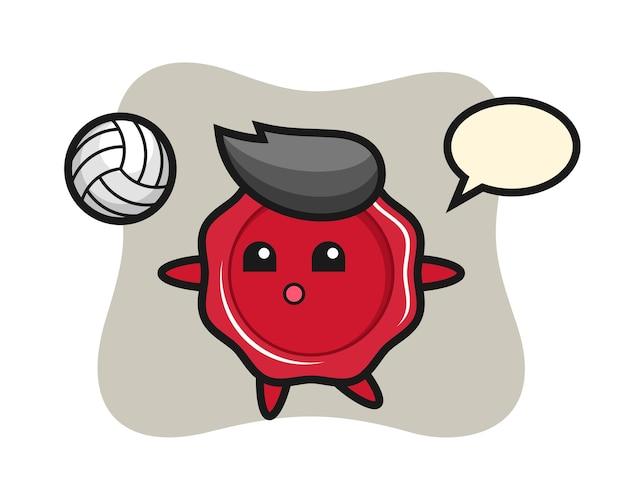 Charakter cartoon von siegellack spielt volleyball Premium Vektoren
