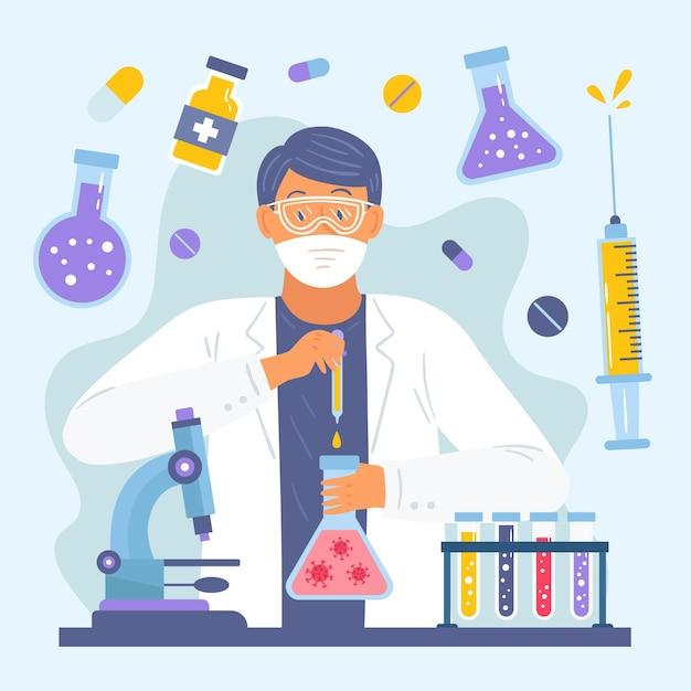 Charakter, der ein impfstoffkonzept erstellt Kostenlosen Vektoren