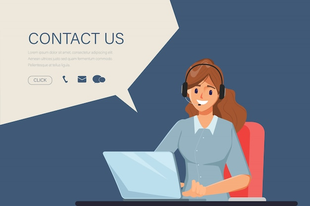 Charakter der geschäftsfrau im call center job. animationsszene für bewegungsgrafik. kontaktieren sie uns link auf website-informationen. Premium Vektoren