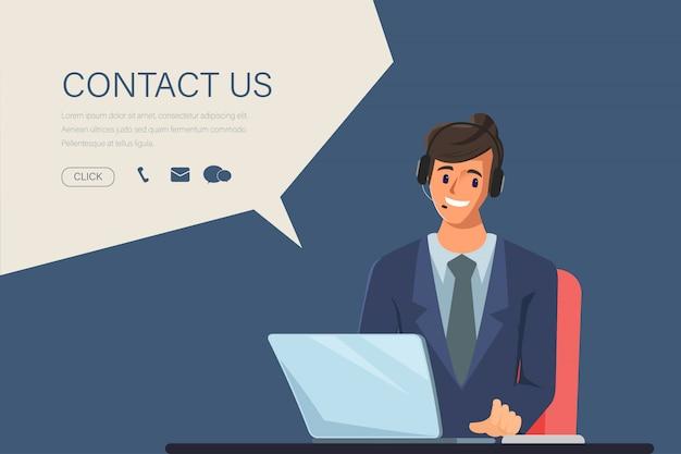 Charakter des geschäftsmannes im call-center-job. animationsszene für bewegungsgrafik. kontaktieren sie uns link auf website-informationen. Premium Vektoren
