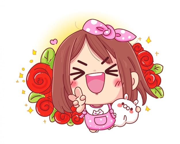 Charakter des glücklichen mädchens und des weißen kaninchens mit der schönen roten rose oder dem blumenstrauß lokalisiert auf weißem hintergrund. Premium Vektoren