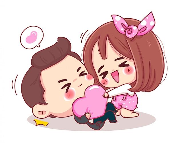 Charakter des liebhabers, der rosa herz mit romantischem valentinstag spielt, lokalisiert auf weißem hintergrund. Premium Vektoren