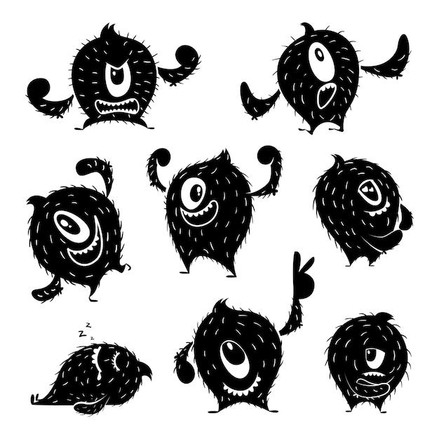 Charakter des lustigen monsters in verschiedenen aktionshaltungen. teufel süßes lächeln. monochrome abbildungen Premium Vektoren