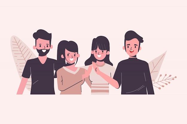 Charakter des menschen des jugendkonzepts des internationalen konzepts im flachen design. teamwork der gruppe beitreten. Premium Vektoren