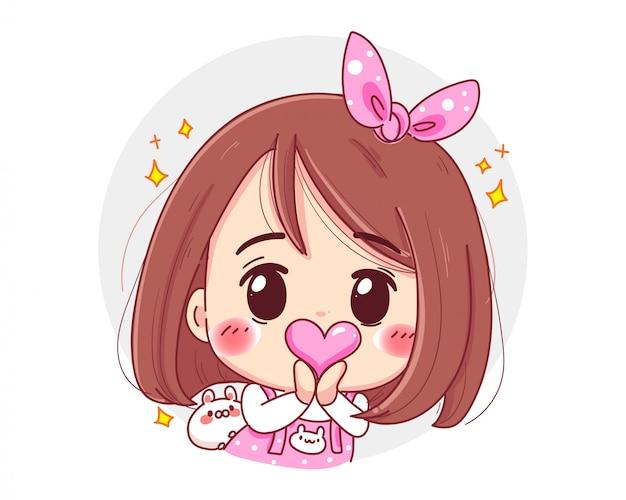 Charakter des niedlichen mädchens, das rosa herz in den händen mit glücklichem valentinstag lokalisiert auf weißem hintergrund hält. Premium Vektoren