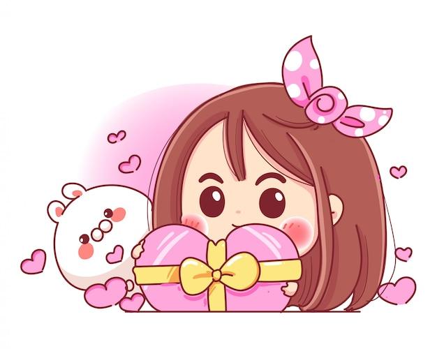 Charakter des niedlichen mädchens und des weißen kaninchens, das rosa herz-geschenkbox mit romantischem valentinstag spielt, lokalisiert auf weißem hintergrund. Premium Vektoren
