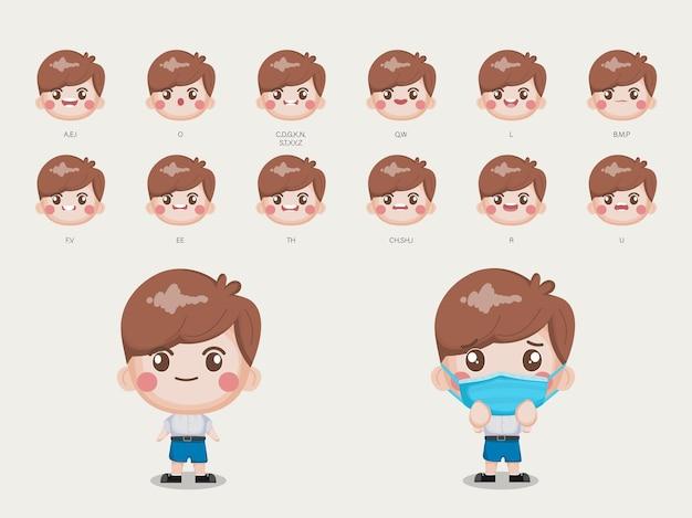 Charakter für animation mund und gesicht student in bangkok thailand uniform Premium Vektoren