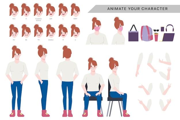 Charakter für frau charakter animiert mit emotionen gesicht und animation mund. Premium Vektoren