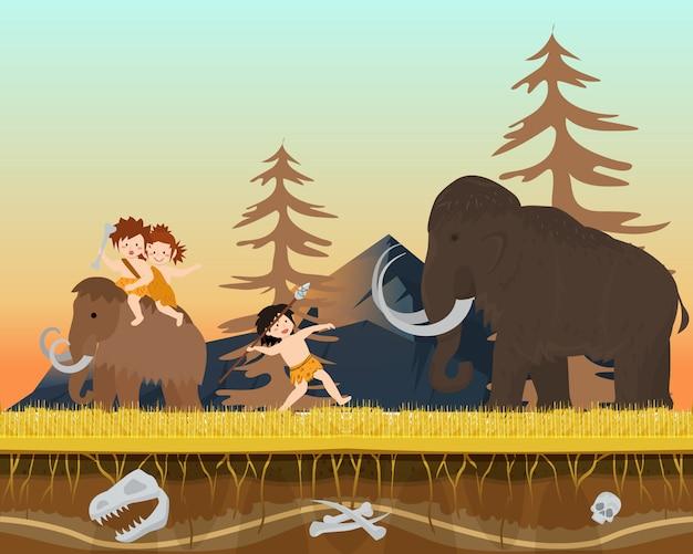 Charakter männliches kind jagd wilder mammut prähistorische zeit mann mit speer, flache vektor-illustration. alter stamm auf der jagd Premium Vektoren