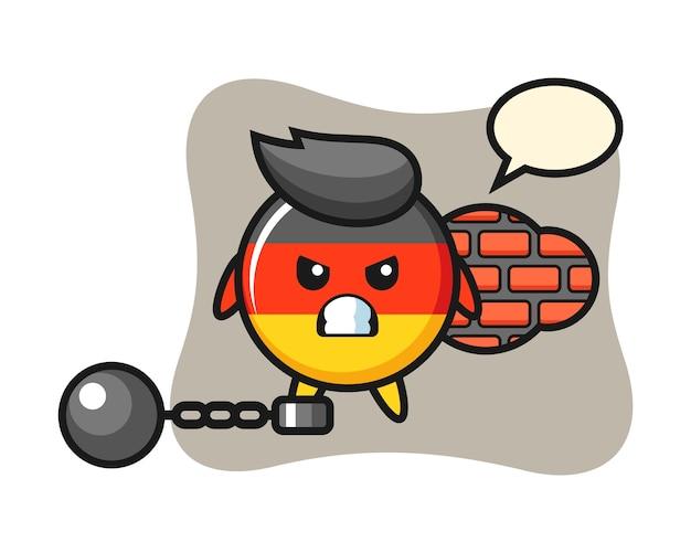 Charakter maskottchen von deutschland flaggenabzeichen als gefangener Premium Vektoren